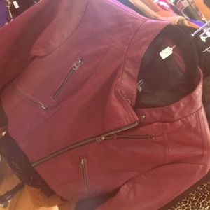 Forever21 faux burgundy leather jacket